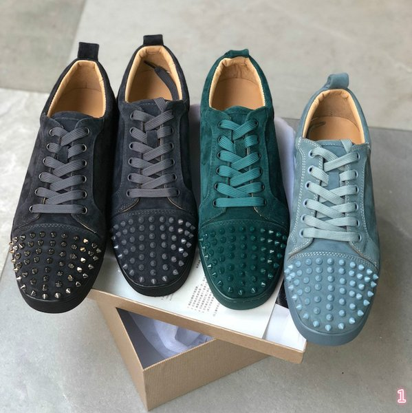2019 Luxury Studded Spikes men trainers Red Bottom Shoes Top quality GREY NEW Designer Brand Flats 100% Genuine Leather For US 3X 43