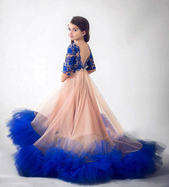 top popular Royal Blue A Line 2020 Girls Pageant Dresses Lace Half Sleeves Flower Girls Princess Dress Formal Birthday Party Wear 2020
