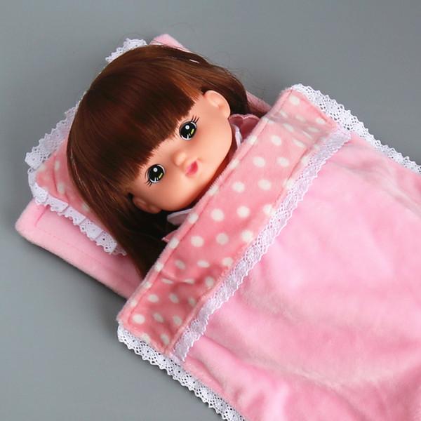 Livraison gratuite Vêtements de poupées Accessoires de meubles rose matelas dentelle couette oreiller Convient pour les poupées de 30 cm