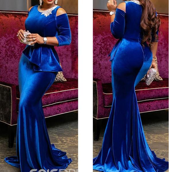Vestidos de fiesta azul real 2019 cuello redondo de encaje de manga larga corte de terciopelo tren vestidos de noche vestidos vestidos de fiesta