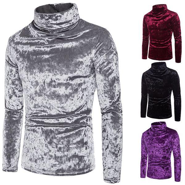 Осень и зима коралловый флис шелковистый сплошной цвет дизайн одежды с высоким воротником мужские пуловеры сплошные кофты