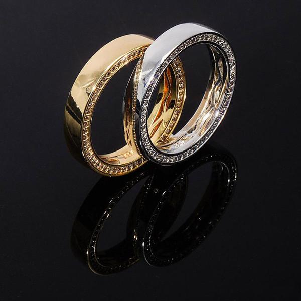 S925 Sterling Silber Runde Finger-Ringe für Männer Frauen CZ Stein Bling Iced Out-Paar-Ring Male Hip Hop Rapper Schmuck