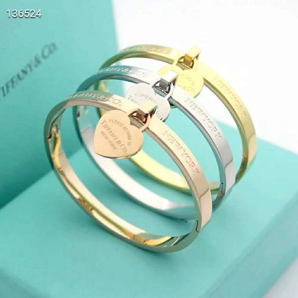 Venda quente Para Sempre Amor Pulseira Coração Nova Marca Aço Inoxidável 316l Rose Gold Silver Wristband Charm Bangle Mulher Presente Do Partido moda jóias
