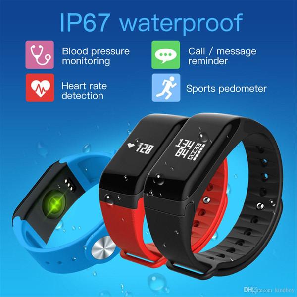bluetooth F1 reloj inteligente Fitness Tracker Muñequera Monitor de frecuencia cardíaca Smart Band Smartband Presión arterial con podómetro Bracele