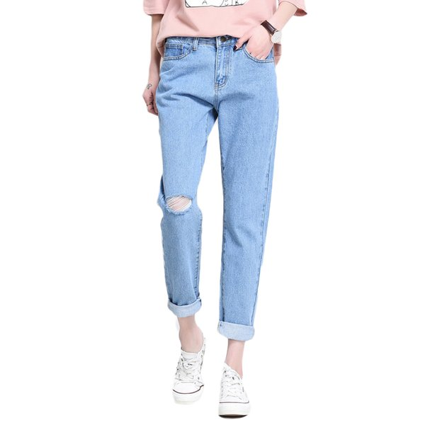 Spring Summer Boyfriend Style Loose Denim High Waist Ninth Jeans With Hole On Knee Women Thin Pants Feminino Trousers