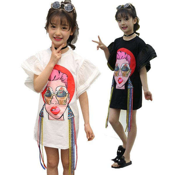 Alternative Fashion Style Dress 2018 Summer Girls Cartoon Beauty Patch Dresses Clothes Novelty Kids Flare Sleeve Tshirt Dress MX190724