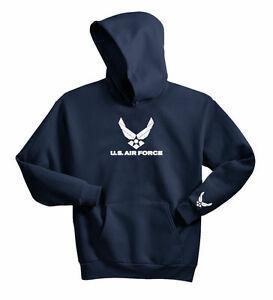 S S FUERZA AÉREA SUDADERA CON CAPUCHA SUDADERA CON CAPUCHA USAF MILITAR MARINO AZUL