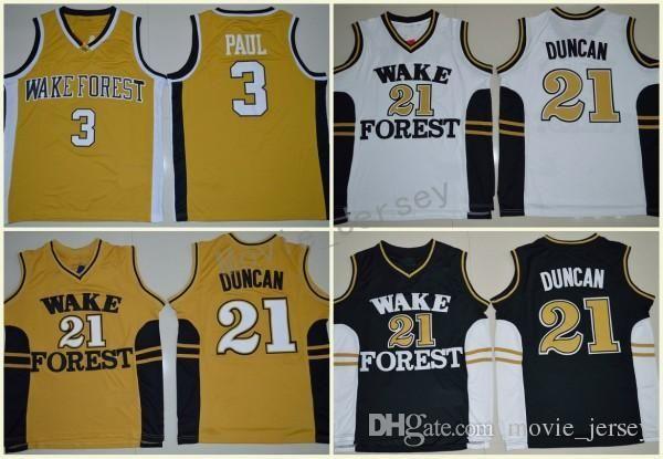 Wake Forest Demon диаконы College Basketball трикотажных изделий Tim 21 Duncan Chris Paul 3 рубашки Дешевые университет прошитой Джерси S-XXL