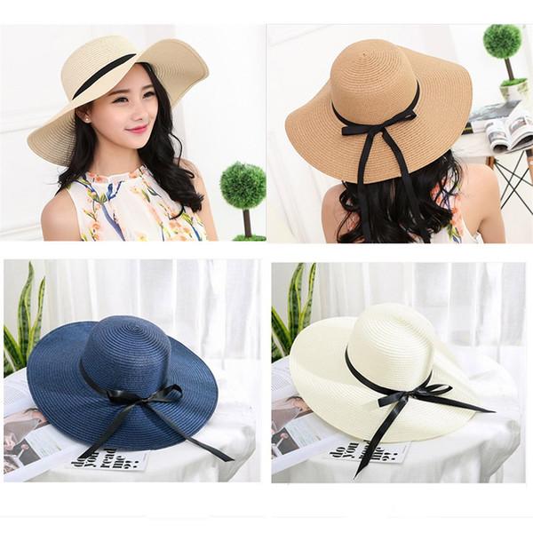 Mode de paille Cap d'été Outing large Brim chapeaux Chapeau de plage Femmes Sun Cap Casual Chapeau de soleil Chapeau de soleil