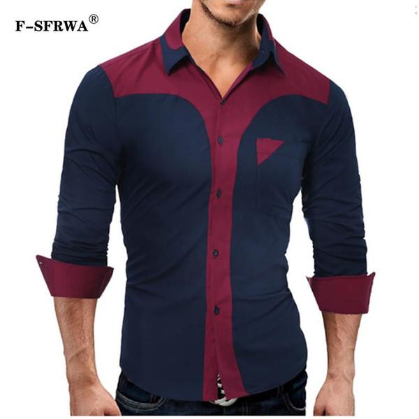 F-SFRWA Brand 2019 Fashion Male Shirt Long-Sleeves Tops Fashion Youth Hit Color Splice Mens Dress Shirts Slim Men Shirt XXXL