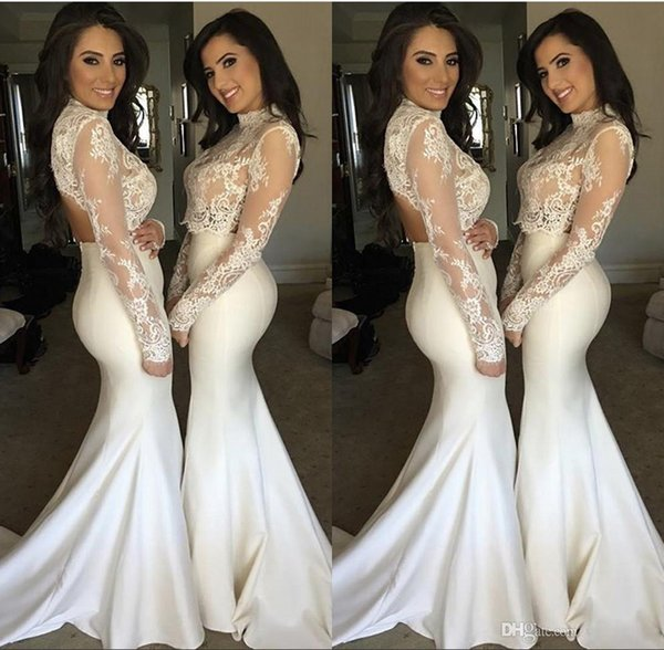 Elegant White Vintage Mermaid Bridesmaid Dresses 2019 Two Pieces Prom Dress Sheer Long Sleeve High Neck Lace Top Maid Of Honor Gowns