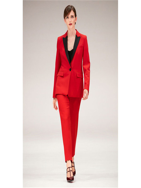 Womens Suits Blazer with Pants Office Uniform Designs Women 2 Piece Set Formal Pant Suits for Weddings Female Trouser Red
