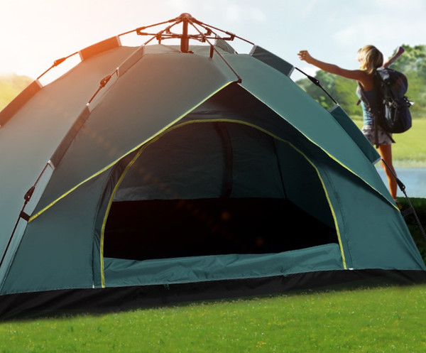 Wholesale outdoor automatic tents throwing pop up waterproof camping hiking tent waterproof large family tents UV sunscreen park tent