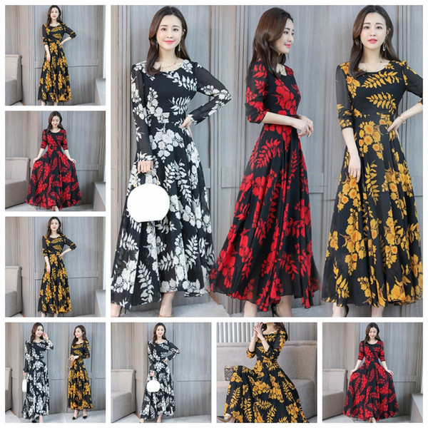 Real shot 2019 spring new big round neck print long skirt Slim thin large knee dress, support mixed batch