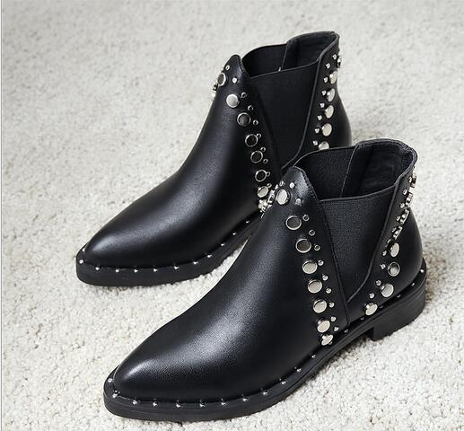 Sales Free shipping Wholesales Pointed rivet booties Europe & US Fan thick with elastic belt boots comfortable wild Pointed