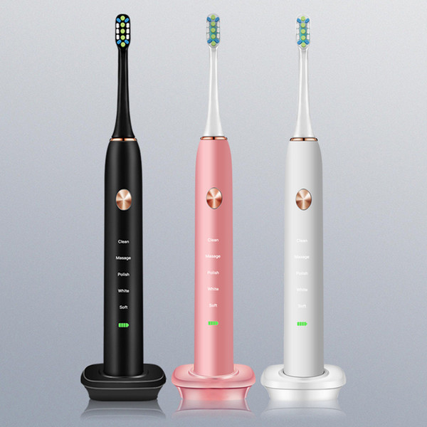 Ultrasonic electric toothbrush induction charging vibration soft hair smart charging electric toothbrush black white pink DHL sz146