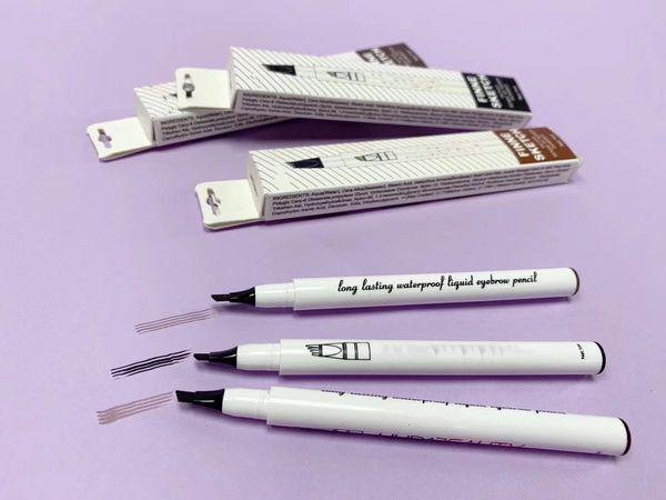 best selling BEAUTY FINNE SKETCH Eyebrow Pen TATTOO SENSE OF SUPER DURABLE Eyebrow Enhancer 3 Colors Four Head Eyebrow Enhancer Waterproof Free shipping