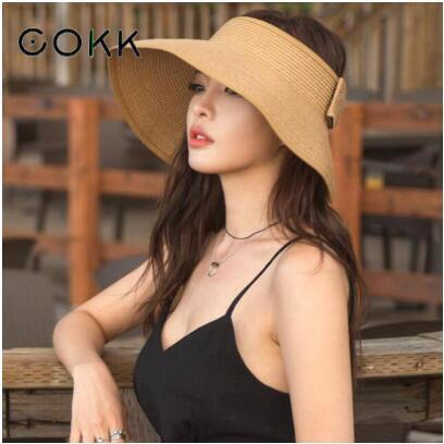 New Spring Summer Visors Cap Foldable Wide Large Brim Sun Hat Beach Hats for Women Straw Hat Wholesale Chapeau