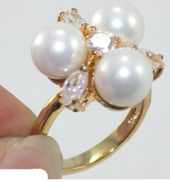 FREE SHIPPING+ >8mm Genuine White South Sea Shell Pearl Crystal Wedding Ring Size 7/8/9