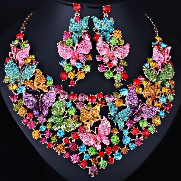 Handbemalte dreidimensionale Schmetterling Kristall Halskette Ohrringe Luxus bohren Nahen Osten afrikanischen Braut Schmuck Haarschmuck f