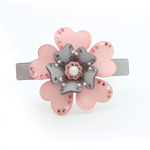 Hair Clip Hairpin Barrette Pins Hair Accessory for Women Girls Flower Rhinestones Acrylic Jewelry Ornament Wedding Bridal Party