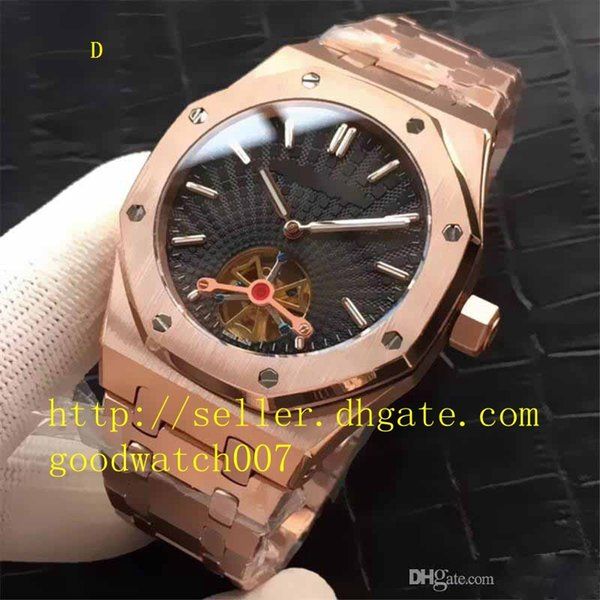 6 Style Top selling Top Quality Watch Asia Transparent Mechanical Automatic Mens Men's rose gold 316L stainless steel wrist geneva Watches
