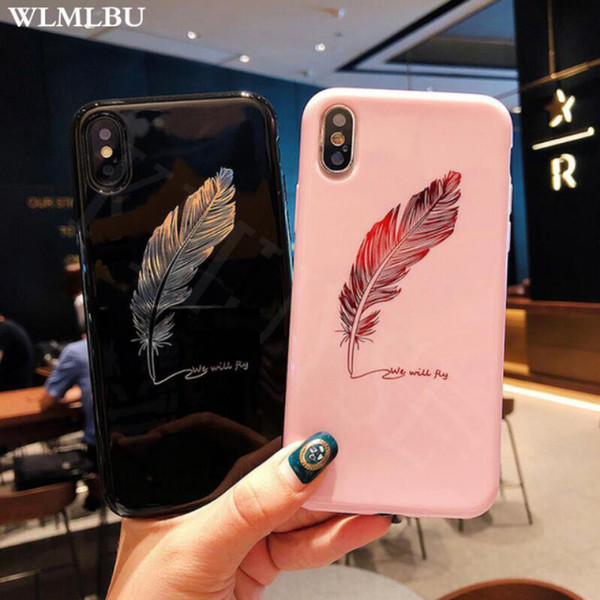 WLMLBU Silicone Feather Case For iPhone 7 8 Plus XS Max XR Xs Letter Phone Cases For iPhone X 8 7 6 6S Plus Soft TPU Back Cover