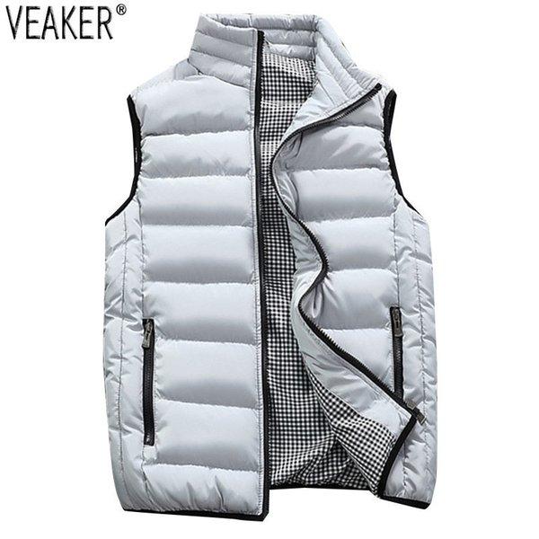 2018 Autumn Winter New Men Cotton Vest Jacket Solid Color Sleeveless Down Waistcoat Jacket Male Casual Vest Coat Plus Size 5XL