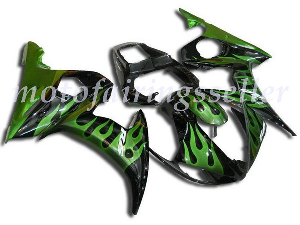 New ABS Fairing Kits Fit For YAMAHA YZF-R6 05 fairings set YZF600 2005 hot sales Black Green Flame