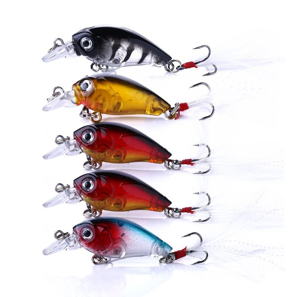 6pcs Lot Mini Baits Fishing Lures Plastic Crank Bait Tackle CrankBaits 4.5cm//4g