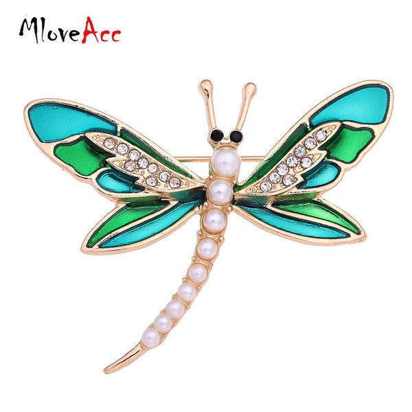 Al por mayor- MlovAcc Fashion Simulated Pearl Gold Plated Vintage Lovely Green Enamel Dragonfly Brooches Women Crystal Scarf Lapel Pin Broche