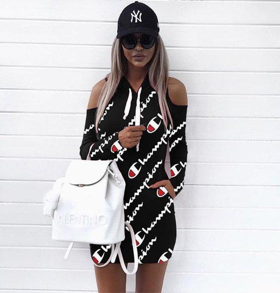 Мода Женщины Повседневная цифровая печать плечевой ремень шляпа платье с длинным рукавом спортивные рубашки плюс размер S-3xl