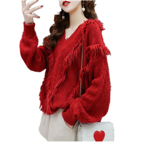 Tassel Pull Pull femme Vêtements d'hiver Lazy vrac Jumper col en V doux tricot automne Tops Maille Pull Pulls Femme