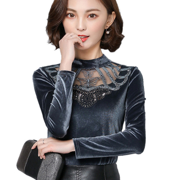 Brand 2019 Summer New Fashion Hot Sale Sexy Women Clothes designer Velvet Temperate Long Sleeve Floral Velour Tops Plus Size T-Shirt