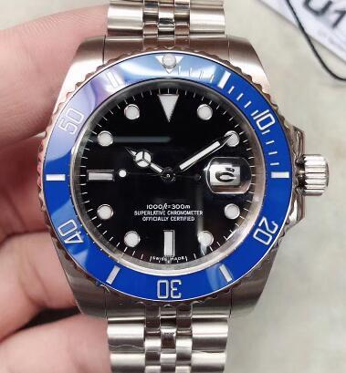 high grade stainless steel bracelet 40 mens watches watch blue bezel with a ceramic ring luminous hands and dot hour markers