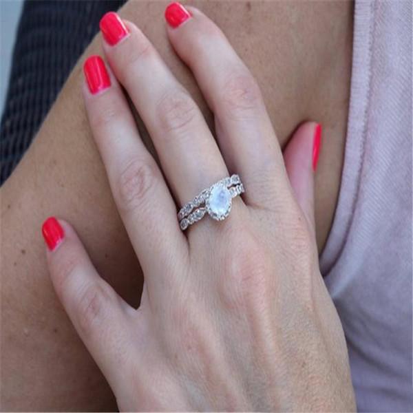 Conjuntos de anéis de casamento new bohemian cor de ouro branco micro anel de zircão para as mulheres meninas presentes feminino anel de noivado de opala