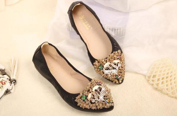 Sıcak Kristal Flats Bale Tilki Tasarımcı Ayakkabı Taklidi Kadınlar Tasarlanmış Kız Çiçek Sivri Burun Gümüş Ayakkabı Loafer'lar
