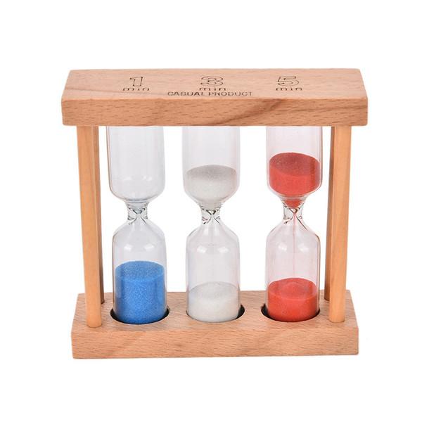 1/3/5 Minutes Cadre en bois de sable en verre Hourglass Sable Minuteur Horloge pour Sandglass Accueil Table Décoration de Noël Jouets cadeau d'anniversaire
