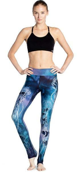 seco de nueve puntos pantalones de la señora agua azul algas delgado ejercicio de levantamiento de la cadera transpirable velocidad super-elástica
