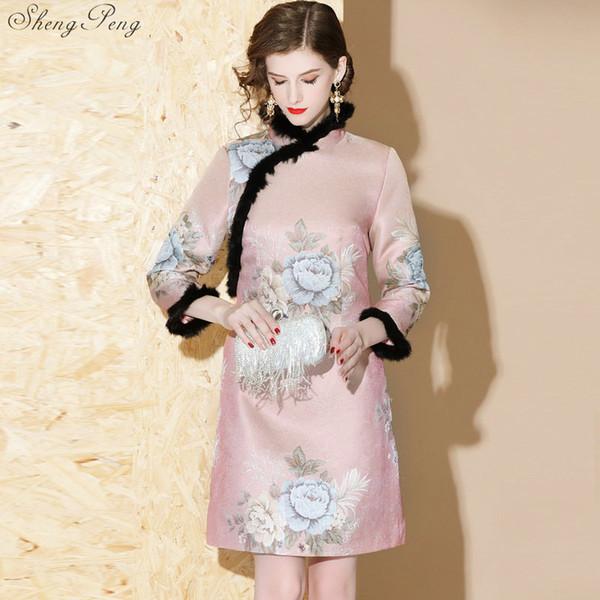 Mistura de pele do falso de lã qipao outono inverno chinês dress manga comprida cheongsam na altura do joelho oriental v1335