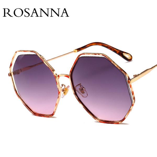 Venta al por mayor gafas de sol redondas de gran tamaño mujeres diseñador de la marca Hollow Frame Polygon Gafas de sol Mujer 2018 Negro Unisex Oculos UV400
