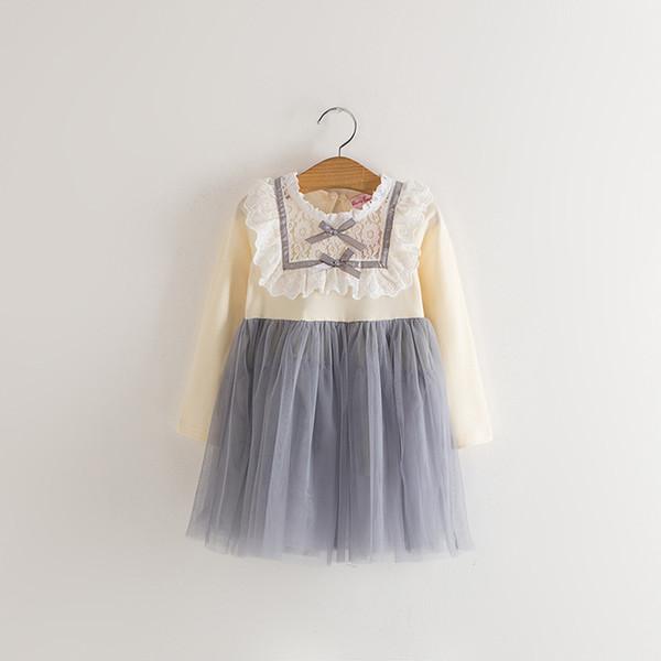 Çocuklar Kızlar Elbise Tül Dantel Yay Parti Elbiseler Bebek Kız TuTu Prenses Elbise Bebekler Kore Tarzı Elbise Çocuk giyim