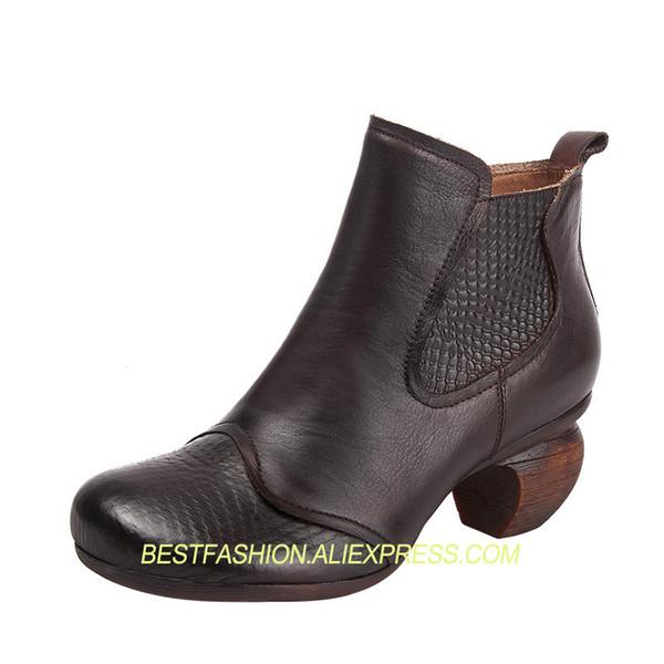 zapatos solos en relieve zapatos de mujer de cuero auténticos ocasionales de tacón bajo botas a media pierna botas individuales