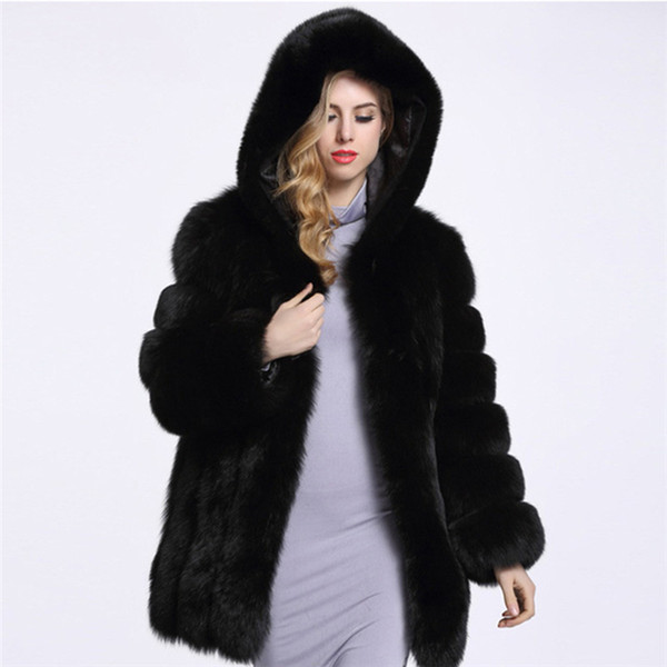 with a hat New Style Hot Sale Fashion Sexy Women Winter Warm Fox faux Fur Coat Christmas pub Body Con Celebrity Coats Wholesale