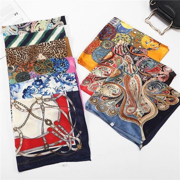 Head Neck Wrap Neckerchief Shawl Square Scarf Silk Feel Satin Leopard Print