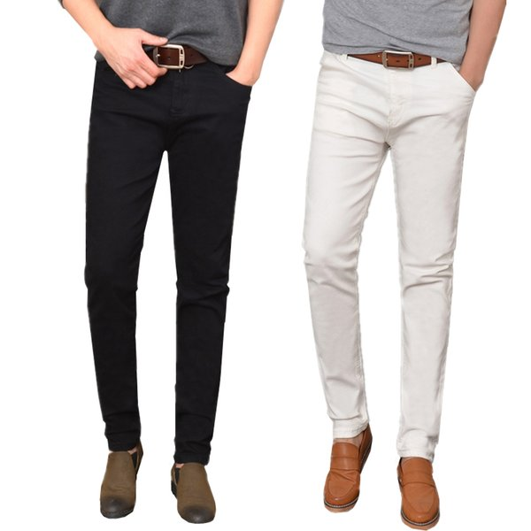Small Stretch White Jeans men Size 28 39 30 32 34 36 Teen Fashion Casual mens Trousers Slim Elegant and Comfortable