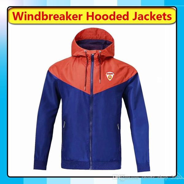 2019 North Macedonia National Team Windbreaker Hoodies Soccer Jackets, North Macedonia Full Zipper Windbreaker Coat Football Hooded Fans Tops From
