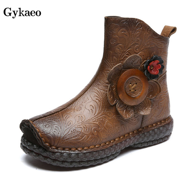 Gykaeo 2019 Autumn New Plus Velvet Women Boots Ladies Genuine Leather Printing Flower Winter Shoes Non-slip Ethnic Retro Boots