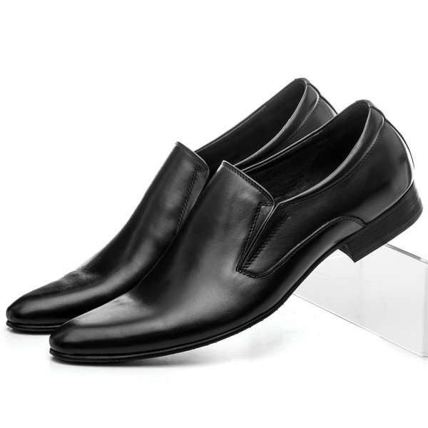 CLORISRUO Large Size Eur45 Black / Brown Tan / Brown Dress Shoes Mens Wedding Groom Shoes Genuine Leather Loafers Mens Business