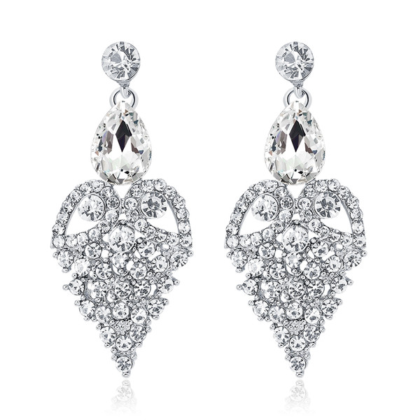 New Bridal Earrings with Crystals Rhinestones Water Drop Earring Bridal Jewelry Findings Wedding Accessories For Brides BW-056